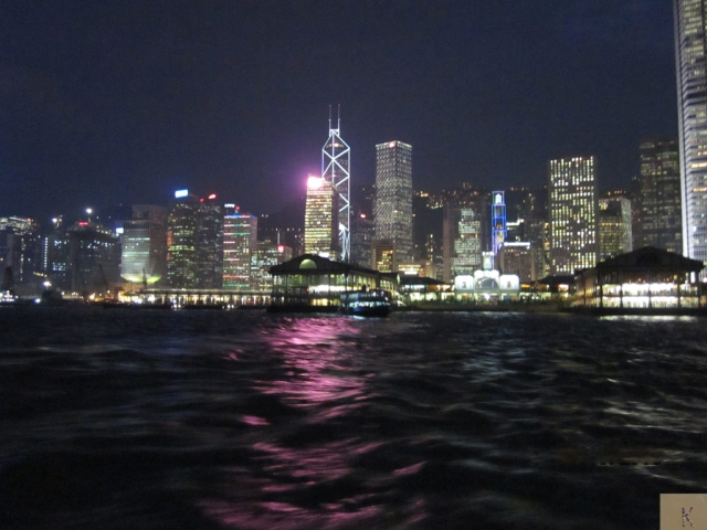 Leaving Hong Kong Island at night
