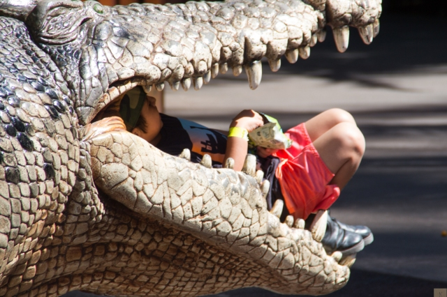 croc eating child eating chips